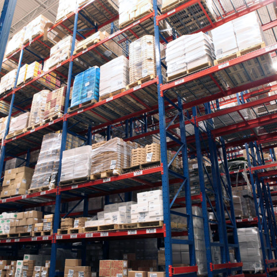 Frazier's Sentinel Selective Pallet Racking with Wire Mesh Deck stores various food stock keeping units.