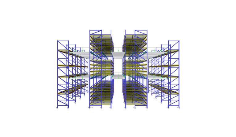 A 3D Model of Frazier's Pick Module racking from SCIA Engineer.