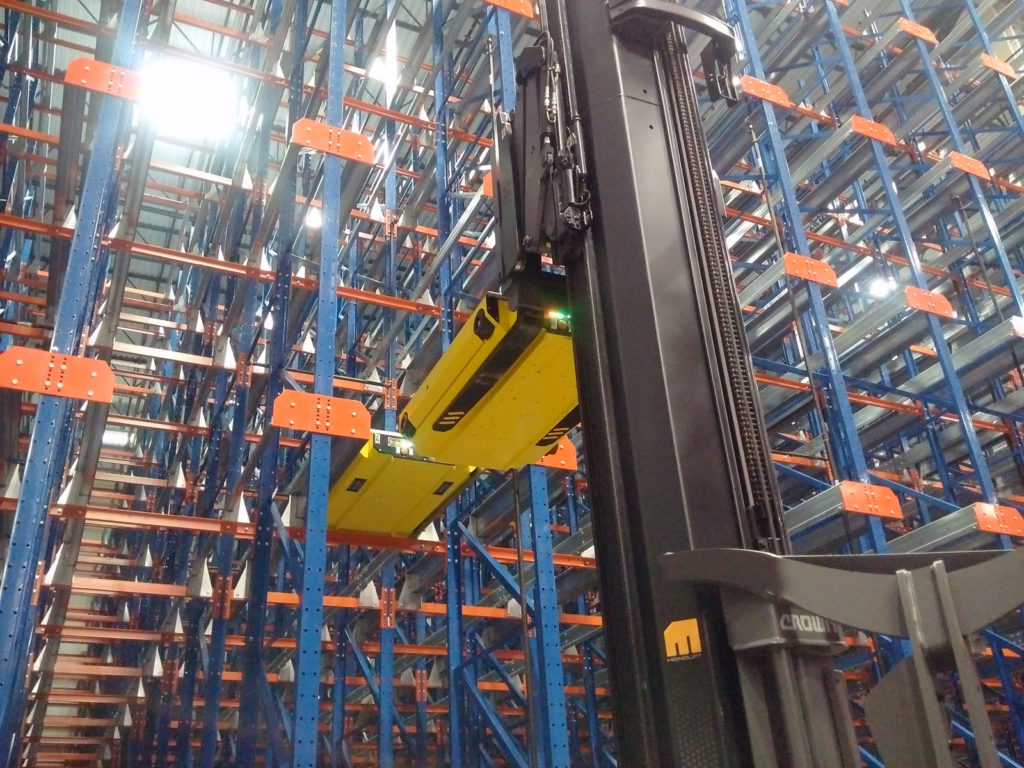 A magnetic latching system allows Frazier's Pallet Mole® to be securely lifted by a fork truck.