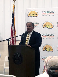 Frazier President, Carlos P. Oliver addresses attendees at the Dyersburg Plant Ribbon-Cutting.
