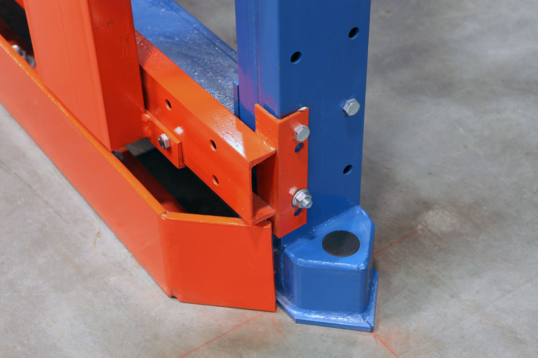 A Bull Nose pallet rack protector.