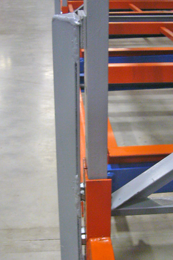 A Post Protector on pallet rack.