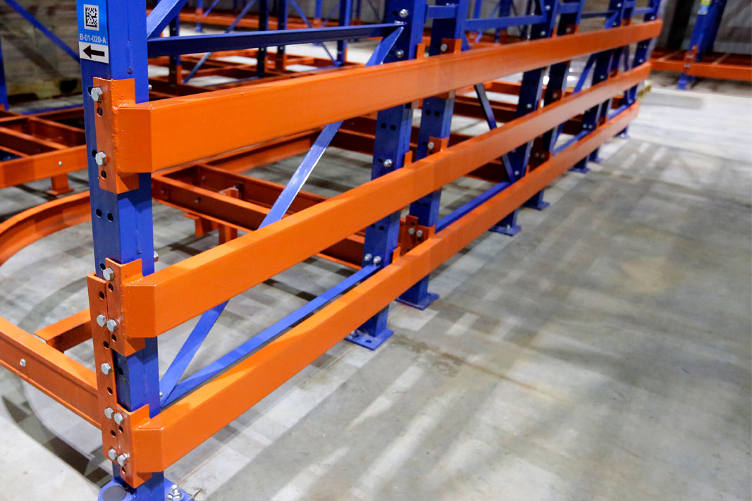 Row End Protectors on pallet rack.