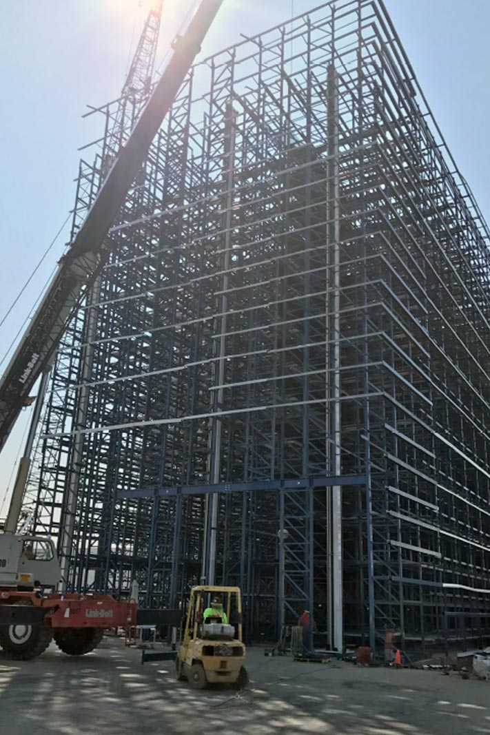 A Rack Supported Building under construction.